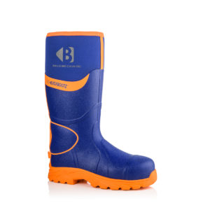 Buckbootz BBZ8000 S5 blue/orange hi-vis metal-free work safety wellington boots