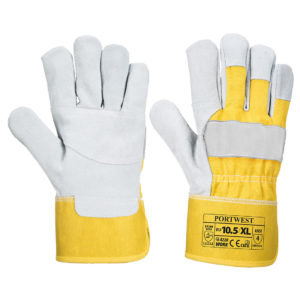Portwest Premium yellow chrome leather Canadian rigger work glove #A220