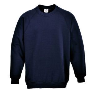 Portwest Roma dark navy polycotton hard-wearing work crew-neck sweatshirt #B300