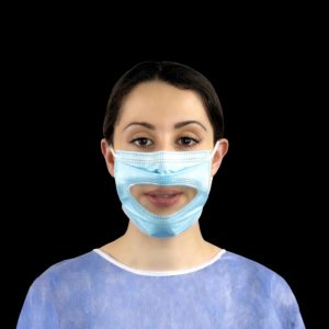 Smile Shield IIR mask with clear front panel to allow lip-reading/expressions (50 pieces)